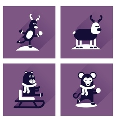 Concept of flat icons with long shadow winter vector