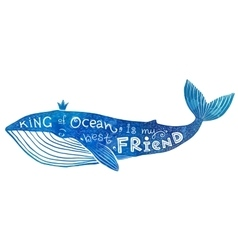 Blue whale with lettering king of ocean is vector