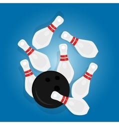 Bowling ball strike pin hit sport object drawing vector