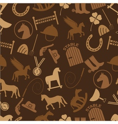 brown horse theme icons seamless pattern eps10 vector image