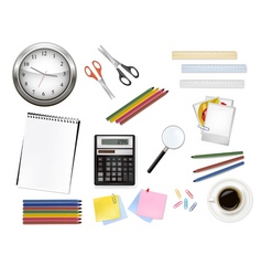 calculator and office supplies vector image
