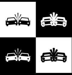 Crashed cars sign black and white icons vector