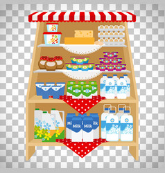 Dairy products on showcase shelves vector