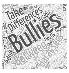 Differences between adult bullying and harassment vector
