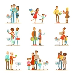 Families shopping in department store and shopping vector
