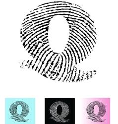 Fingerprint Alphabet Letter Q vector image vector image