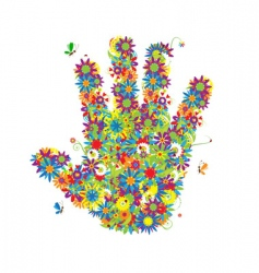 floral hand shape vector image vector image