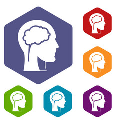 head with brain icons set hexagon vector image vector image