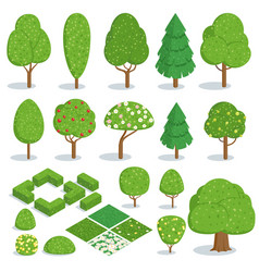 Isometric trees icons set vector