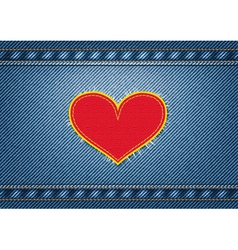 Jeans background with heart patch vector image vector image