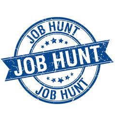 Job hunt grunge retro blue isolated ribbon stamp vector