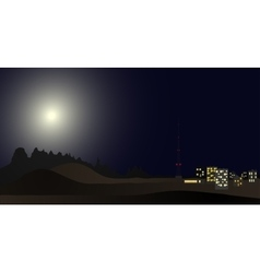 Lights of a small town in the mountains at night vector