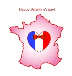 Map of France with flag and heart vector image