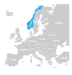 norway marked by blue in grey political map of vector image