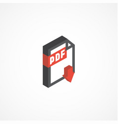 pdf isometric icon 3d vector image