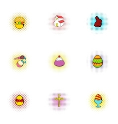 Resurrection of christ icons set pop-art style vector