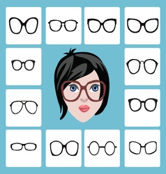 set of different women icons in glasses vector image vector image