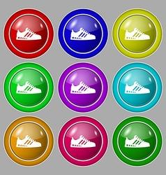 Sneakers icon sign symbol on nine round colourful vector