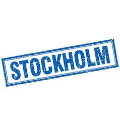 Stockholm blue square grunge stamp on white vector