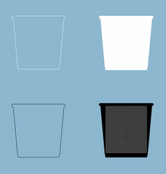 trash bucket the black and white color icon vector image