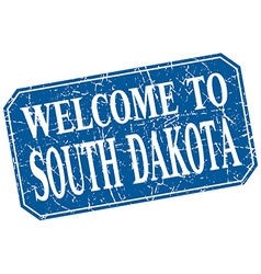 Welcome to south dakota blue square grunge stamp vector
