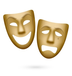 Wooden comedy and tragedy theatrical masks vector