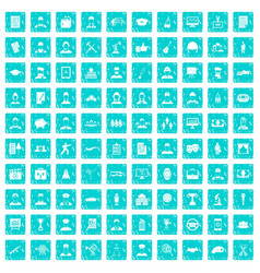 100 career icons set grunge blue vector