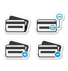 Credit Card CVV code icons as labels set vector image