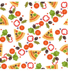 Pizza seamless pattern piece vector