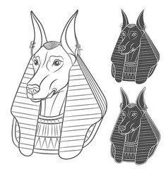 Set of black and white images with anubis vector