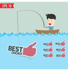 Cartoon businessman catching best tag in the sea - vector image