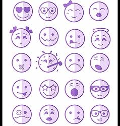 20 smiles icons set child purple half vector