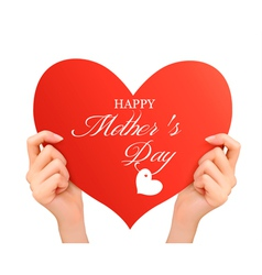 Mother day background Two hands holding red heart vector image