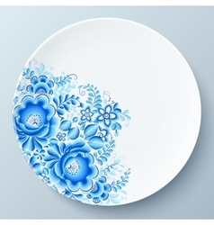 White plate with blue floral ornament vector