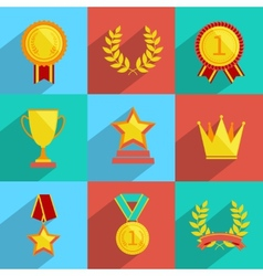 Award icons set colored vector