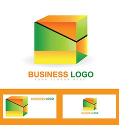 Corporate business colored cube logo vector