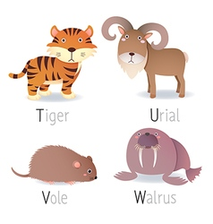 Alphabet with animals from t to w set 2 vector
