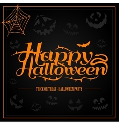 Happy halloween orange letter in black background vector