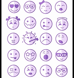 20 smiles icons set child purple half vector