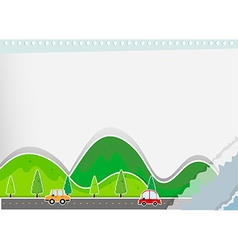 Paper design with hills and road vector