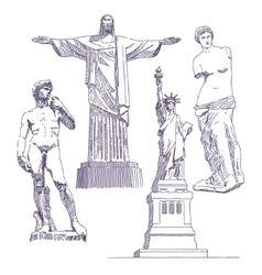 Famous statues drawings vector