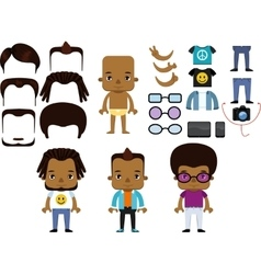African american male hipster avatar set vector