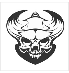 Horned skull - isolated on white vector