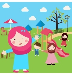 Kids islam girls and boys having fun in park vector