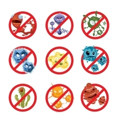 Anti bacteria and germs signs set vector