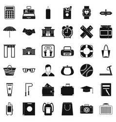 Bag icons set simple style vector