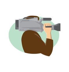 Cameraman movie video camera side retro vector
