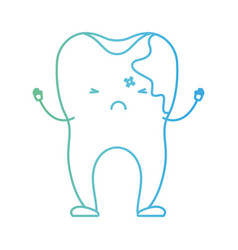 cartoon tooth with caries by side in degraded vector image