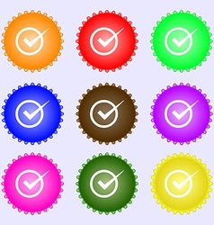 Check mark sign icon Checkbox button A set of nine vector image