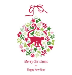 Christmas card with monkey in green-red colors vector